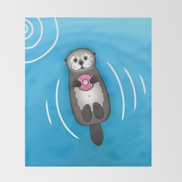 Sea Otter with Donut - Cute Otter Holding Doughnut Throw Blanket