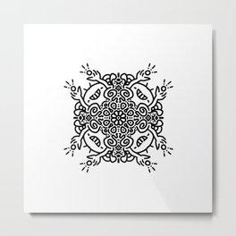 Hold it high - joyful mandala - black and white doodle Metal Print