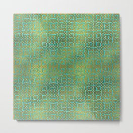 Golden Embossed Celtic Pattern on teal wood Metal Print