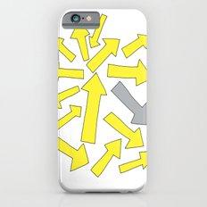 grey arrow on yellow iPhone 6 Slim Case