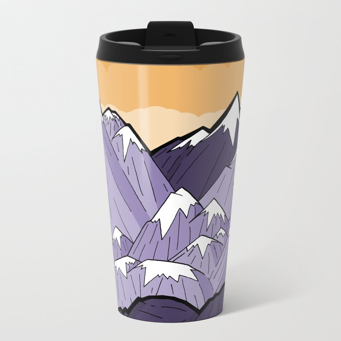 Mountains under the orange sky Metal Travel Mug