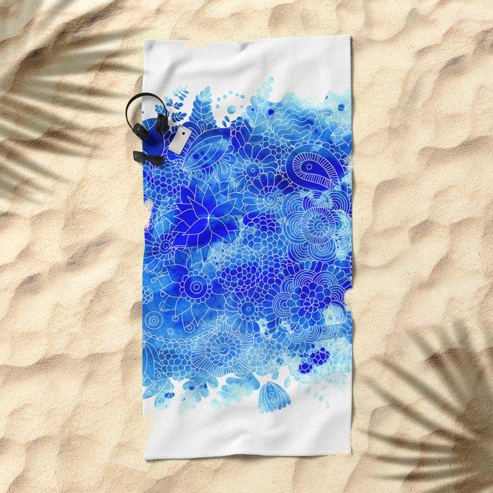 Blue Floral Pattern 02 Beach Towel