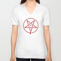 pentagram V-neck T-shirts featuring Adversary Pentagram by Divine Mania