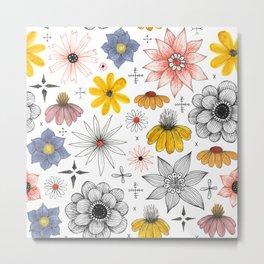 eclectic flower pattern Metal Print