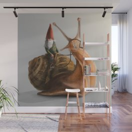 Gnome on Snail Wall Mural