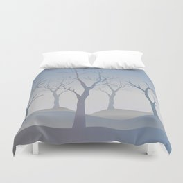 Silhouettes of Trees. Bad Weather Day Duvet Cover