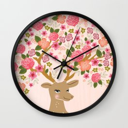 Love Deer Valentines day floral flower antlers Andrea Lauren  Wall Clock