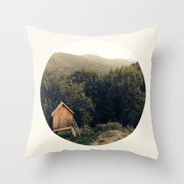 Tiny House In Forest Throw Pillow