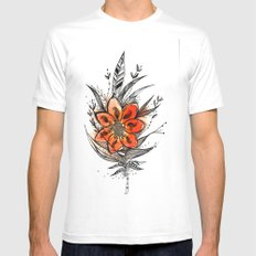 Bronze flower Feather Mens Fitted Tee MEDIUM White