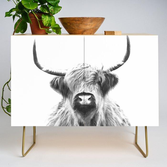 Black and White Highland Cow Portrait Credenza