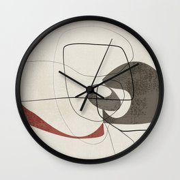 Minimalist Abstract Art Shapes - Scribbles Earth Red 2 Wall Clock