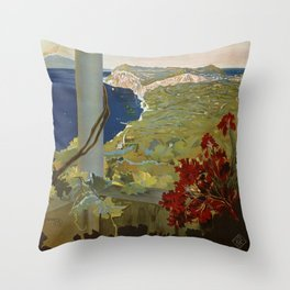 Isle of Capri Italian travel ad Throw Pillow