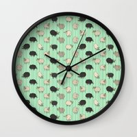 sheep Wall Clocks featuring Sheep by sheena hisiro