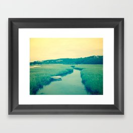 Boat at Marsh Framed Art Print