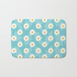 Daisy Flower Pattern On Blue Bath Mat
