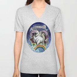 Majestic Unicorn Unisex V-Neck