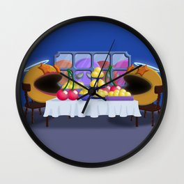 """You prepare a table before me in the presence of my enemies."" Psalm 23:5 Wall Clock"