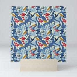 North American Forest Pattern (Blues) Mini Art Print
