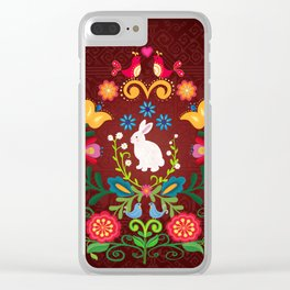 Bunny Of The Flowers Clear iPhone Case
