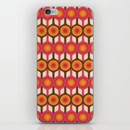 Magenta, Orange, Ivory & Brown Retro 1960s Circle Pattern iPhone Skin