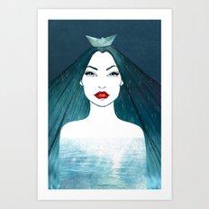 Rainy girl Art Print