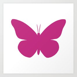 Pink Butterfly Pattern and Print Art Print