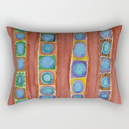 Blue Circles Within Red Stripes Rectangular Pillow