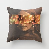 native Throw Pillows featuring Native by Djuno Tomsni
