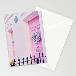 Pink Holiday Door in Notting Hill London England Stationery Cards