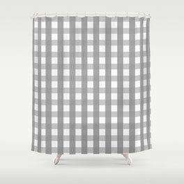 Gray Checkerboard Gingham Shower Curtain