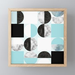 Mid Modern Moon and Sun Geometric Pattern - blue Framed Mini Art Print