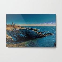 Island of Jamestown, Rhode Island Beaver Tail Lighthouse landscape painting Metal Print