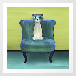 Elegant Cat green Art Print