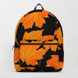 Orange Maple Leaves Black Background #decor #society6 #buyart Backpack
