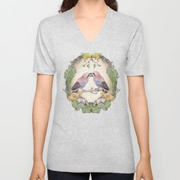 Watercolor Woodland Birds Jays in a Forest Plants , Blackberries Ivy and Fungi Mushroom Frame Unisex V-Neck