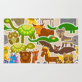 collection Funny cartoon Animals seamless pattern on beige background. Vector Rug