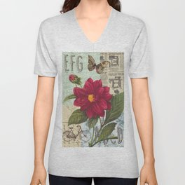 Ride with a Butterly and a Flower Unisex V-Neck