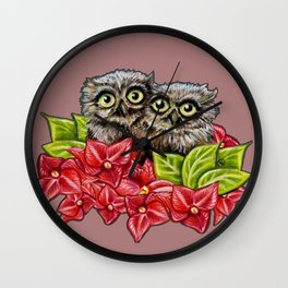 Baby Owls on a Branch Wall Clock