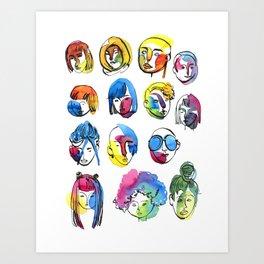 3-color-girls Art Print