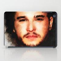 john snow iPad Cases featuring Kit Harrington aka John Snow by André Joseph Martin