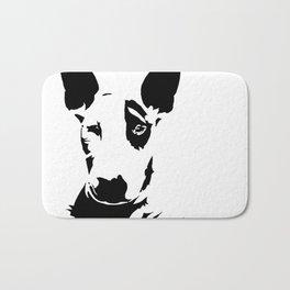 English Bull Terrier, dog breed art, black white, monochrome Bath Mat