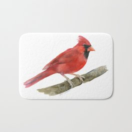 Red Cardinal Watercolor Bath Mat