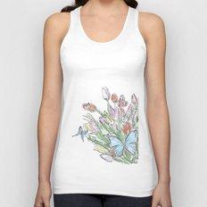Watercolour, flowers and butterflies  Unisex Tank Top