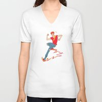 sneakers V-neck T-shirts featuring Electric sneakers by Earl Grey Warden