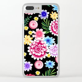 Seamless ditsy floral pattern with bright summer flowers on black background. Vector illustration. Clear iPhone Case