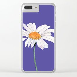Daisy with  Ultra Violet Background Clear iPhone Case