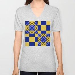 Checkered Circles Yellow and Dark Blue Pattern Unisex V-Neck