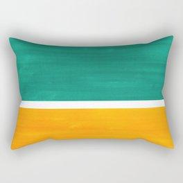 Colorful Bright Minimalist Rothko Minimalist Midcentury Art Marine Green Gold Vintage Pop Art Rectangular Pillow