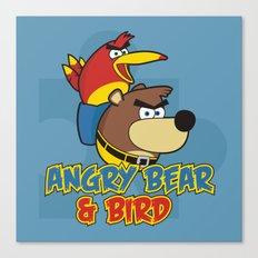 Angry Bear & Bird Canvas Print