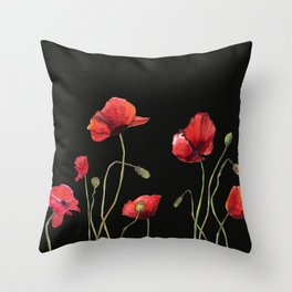 Poppies at Midnight Throw Pillow